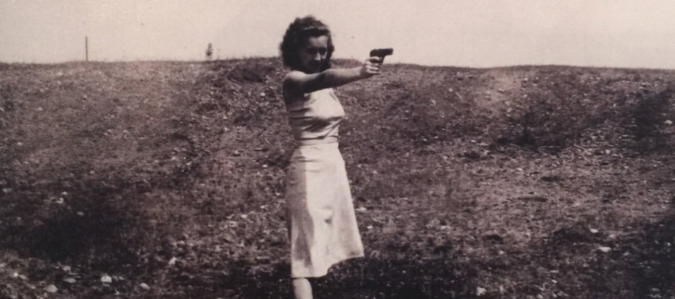 My mother, sometime in the 1940's, standing tall and fearless. I have no doubt she'd pull that trigger.