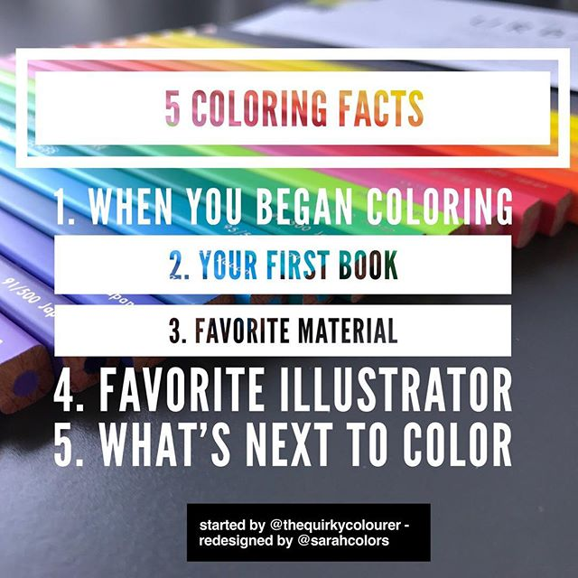I was tagged by @alwayscoloring in this 5 quick facts post. (Originally started by @thequirkycolourer ) - repost this image to your own page and answer the questions 💃 . . 1. I began coloring in 2015 after a car accident left me sad for an extended period. I was gifted a @johannabasford book and I have never looked back! 🙈 . . 2. First book was Secret Garden by Johanna Basford. It wasn't long before Lost Ocean and Enchanted Forest followed!✨ . . 3. Well clearly my favorite material to use is colored pencils. Not sure if I could choose a favorite but Holbein, Inktense and Felissimo 500 would be my most used 🙈 . . 4. Favorite illustrator. Tough call.. @lidehalloberg @hannakarlzon and @kerbyrosanes @richarddraws have to be a top 4. ❤️ . . 5. Next to color is actually an autumn theme color along by Katrine! 🍂🍁 . . . #johannabasford #secretgarden #lostocean #enchantedforest #scotland #fabercastell #german #derwent #english #holbein #japan #felissimo500colors #sydney #australia #spring #summer #art #carandache #swiss #tagged #blogger #youtube #artist  #5colouringfacts @fabercastellglobal @derwentpencils @holbeinartistmaterials @500_colored_pencils @hannakarlzon @lidehalloberg @kerbyrosanes @alwayscoloring