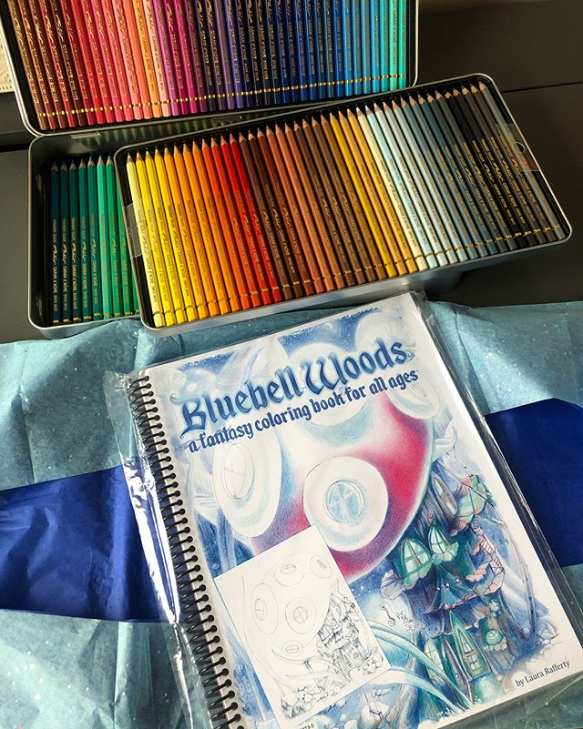 ⚡️HAPPY MAIL MONDAY ⚡️ • • • My copy of BLUE BELL WOODS coloring book by @lauracolorstoo has arrived! My book is number 140/160 (I love how each book is numbered) • • • I love this book for SO many reasons, but I'll give you a quick 3 below. • • • PAPER. This paper will easily handle anything you throw at it, Inktense, paint, 🎨 markers or pencils. This book has you covered. Each image is single sided so you never have to worry about bleed through. • • • BINDING. Since why is Laura the only smart one doing spiral bindings? This is amazing! So much easier to fit around my desk space and to use when it's folded underneath itself. • • • ILLUSTRATION. This really needs no further explanation, but look at the care and detail that Laura has gone to. I am even featured in this book but I'm not biased at all. Promise. [I am not paid in any way shape or form to share my thoughts on this book] • • • Have you ordered a copy of this book? Did you purchase the PDF version? What are your thoughts? Do you follow @lauracolorstoo ? • • • • • #bluebellwoodscoloring  #sarahcolors #lauracolorstoo #colorwithsarah #colorwithlaura #printable #pablo #prismacolor @prismacolor #staedtler #fabercastell #fabercastellclassic #polychromos @fabercastellglobal #holbein #holbeinartistscoloredpencil #karisma #karismacolour #derwent #derwentartist @derwentpencils #carandache #luminance @caran_dache #albrechtdürer #blenderpencil #art #adultcoloring #sunday #monday #motivation #love #tutorial #colors