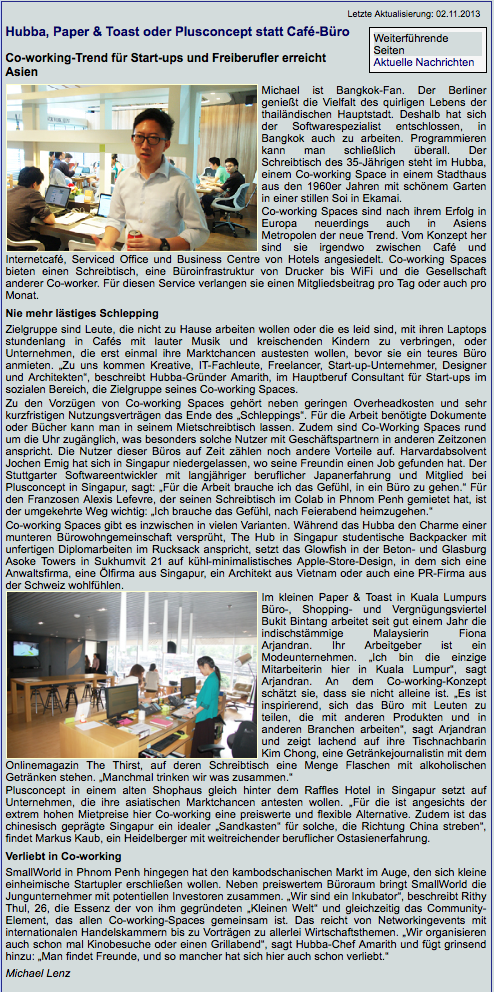German Publication in Thailand about PlusConcept SPACE