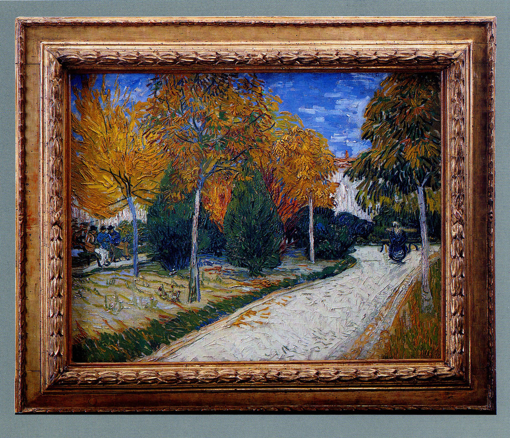 Vincent Van Gogh  Public Gardens at Arles  in an Italian, early 17th century 'cassetta' frame