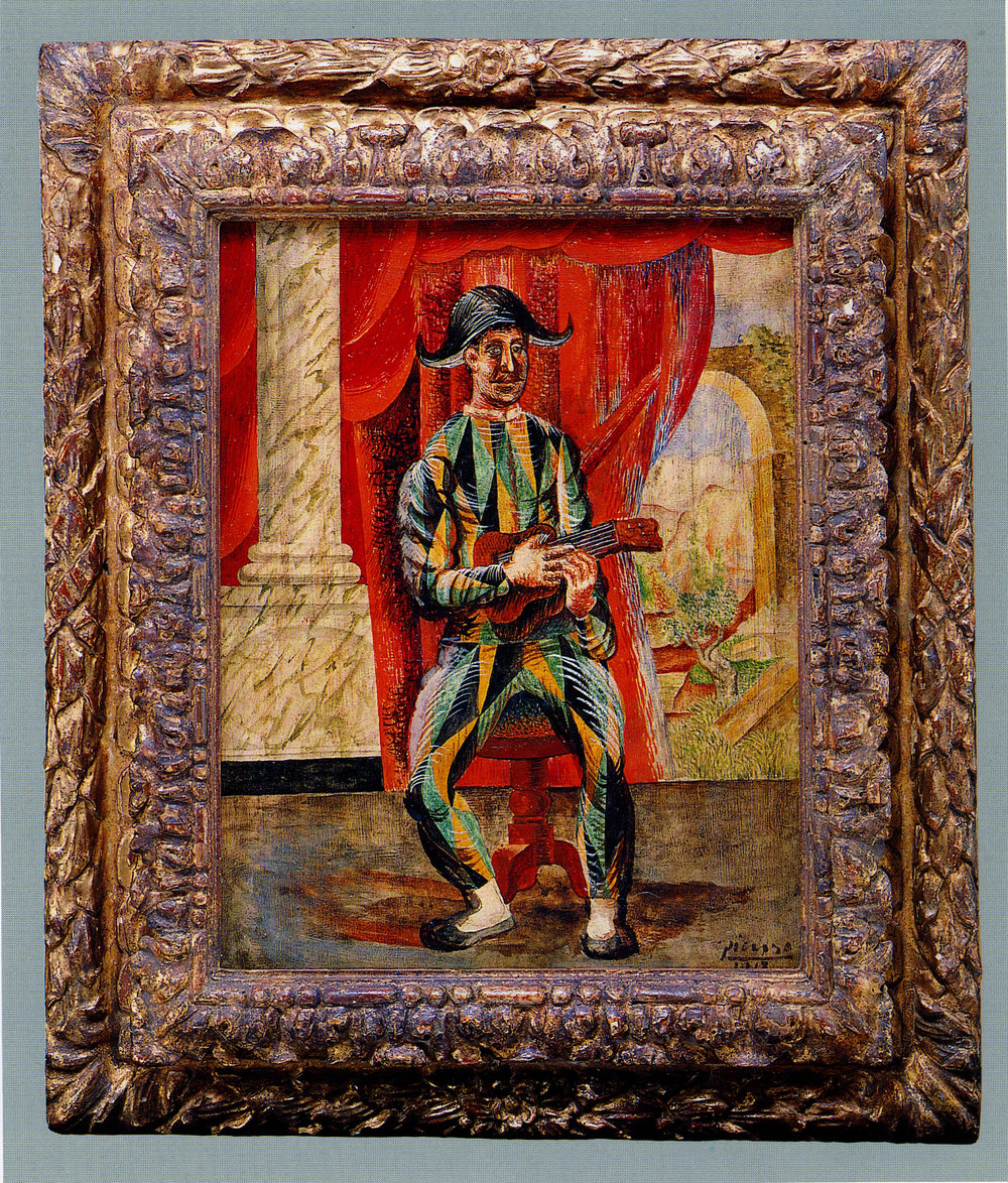 Pablo Picasso  Harlequin with guitar, 1918,  in an Italian 17th-century frame