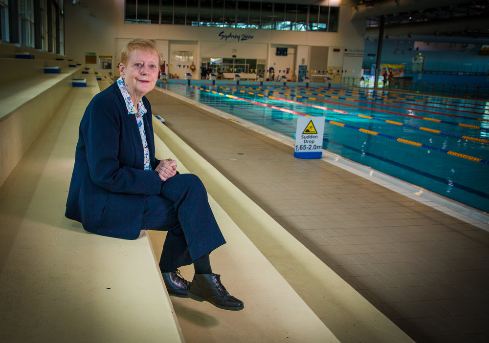 Chris Ronalds at Ryde Swimming Pool, where she spent countless hours training with famous Olympic swimming-coach Forbes Carlile in the 1960s.
