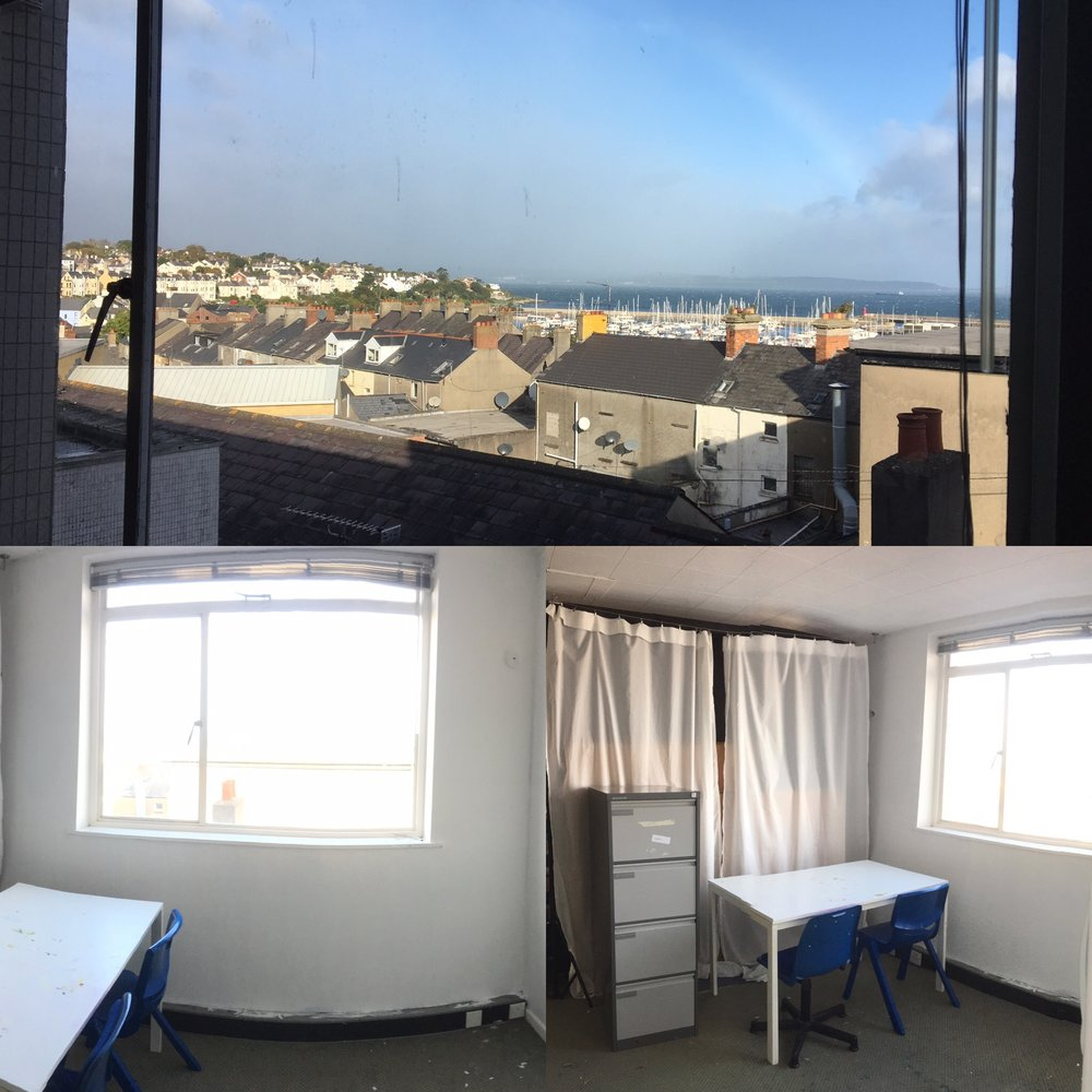 Starter Studio - Ideal for taking the first leap into having your own indie studio space.Top Floor, open plan studio space available with A-M-A-Z-I-N-G view of Belfast Lough.£75 per calendar monthIncludes Wifi, Rates, Water, Electric24/7 access to your studio space.