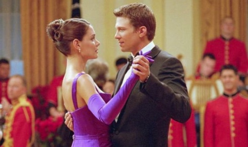 """Marc Blucas with Katie Holmes in """"First Daughter,"""" a 2004 movie.  - Source, WFU Magazine original post"""