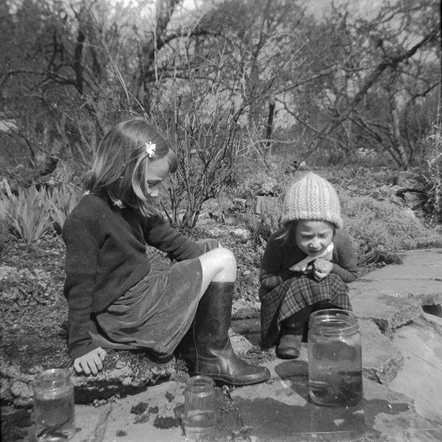 #ponddipping #newts #sweetiejar #1950svintage #sisters #knittedhat #wellies @kathy_freeman_songs #concentration