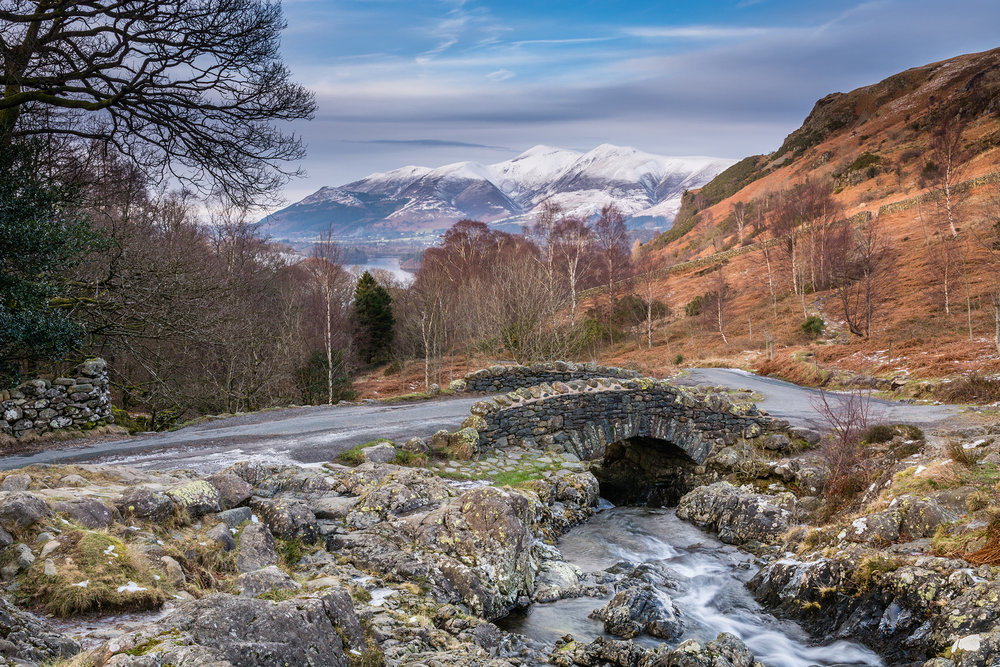 Ashness Bridge and snow capped Catcalls