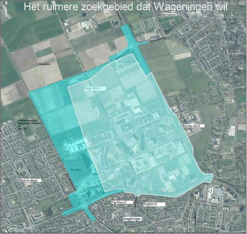Het ruimere zoekgebied dat de gemeenteraad voorstelde