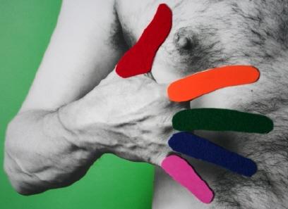 Angelo Demarsico, Perceptorious, 2010, photograph, aluminum, fabric, paint, 90.2 x 83.8 x 12 cm