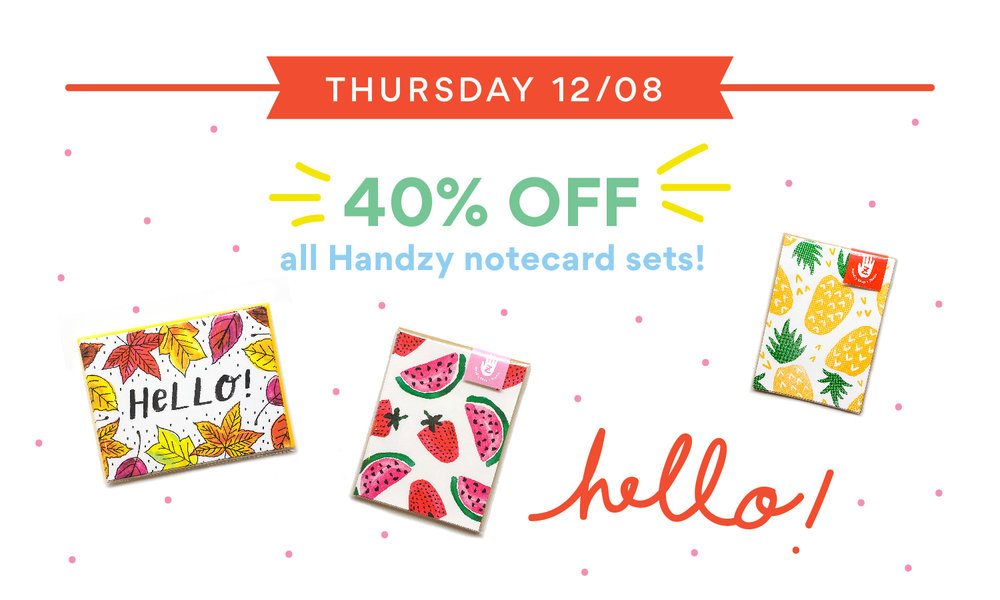 handzy holiday deals stationery sale