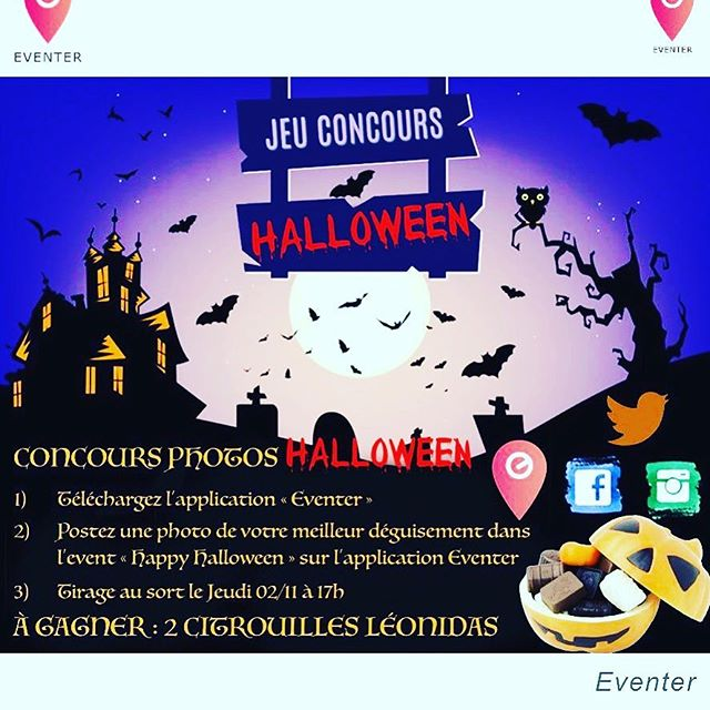 On attend toujours vos photos dans l'évent « Happy Halloween » sur l'application Eventer ! #concours #app #mobile #halloweenmakeup #halloweencostume #halloween #happyhalloween #event #eventer #win #photography #photos #chocolat #chocolate #citrouille #leonidas #digitalart #digital #lot #fete