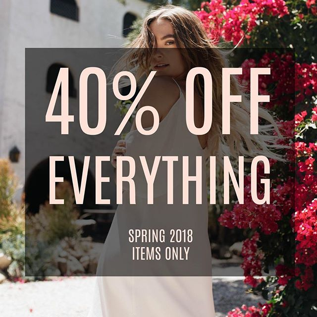 Friday & Saturday, May 26th -27th!!!! 🌺As Spring comes to an end enjoy our 40% OFF EVERYTHING event🌺  PRIZE: Enter to Win 1 of 2 $100 Gift Card's towards your Summer wardrobe by following our account, sharing this post on your Insta Story and tagging 2 friends! (2 Winner's to be announced Monday, May 28th -1 for Instagram & 1 for Facebook)