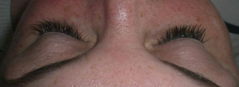 After (lashes look a little wet as I apply a conditioning treatment afterwards to soften the lashes).