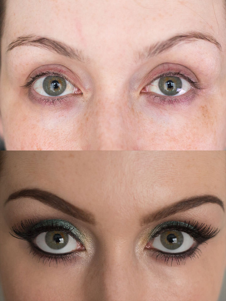 Peacock inspired eyes Before & After