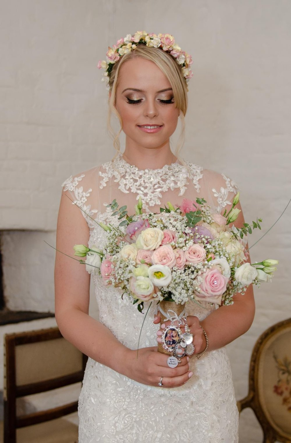 Bridal makeup with focus on the eyes using smokey golds and browns with signiture winged eyeliner