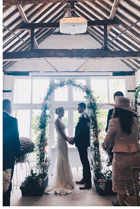 Wedding flower arch at Lillibrooke Manor