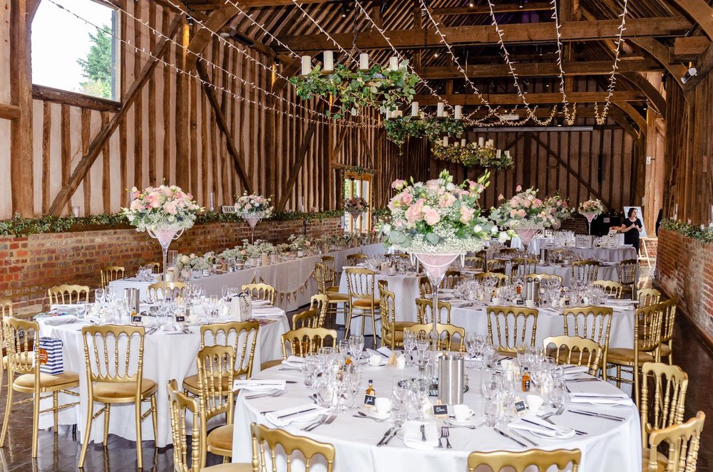 The Great Barn at Lillibrooke Manor set out ready for wedding guests