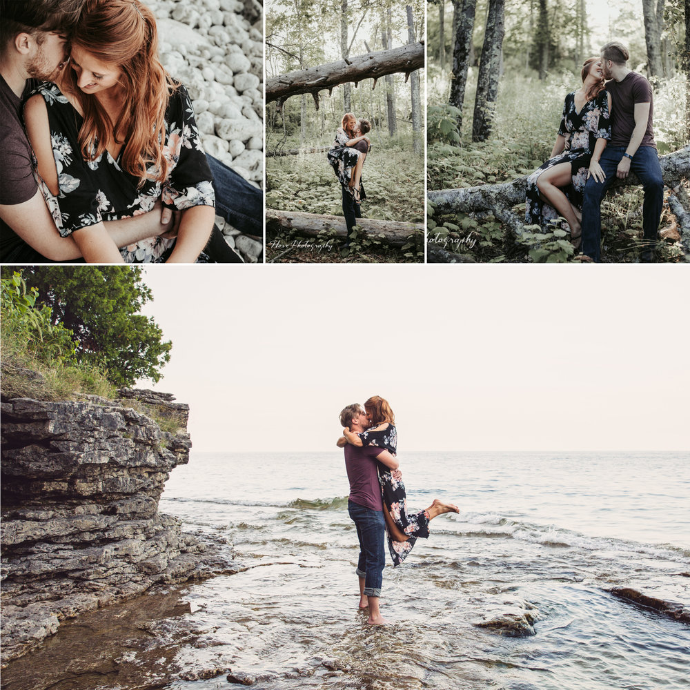 Cave Point Engagement Session, Door County WI