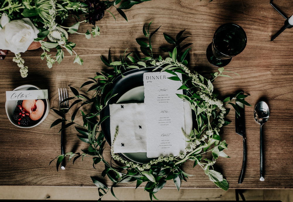 Greenery Table setting - Magnolia Market - Adventurous Elopement - Hove Photography - Jewel tone place setting