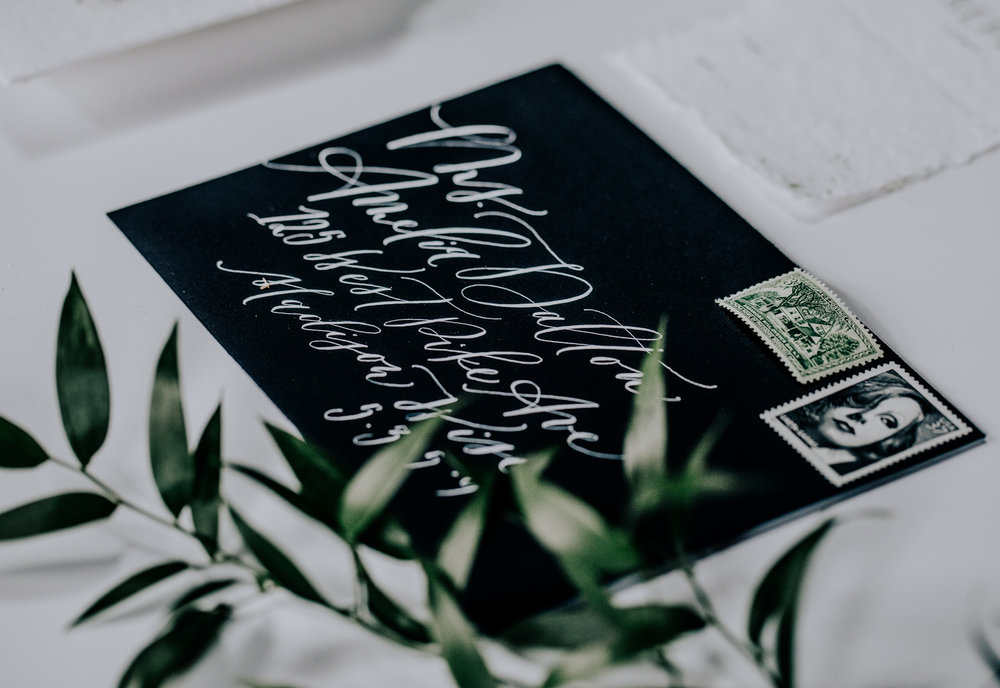 Saffron Avenue- Custom Calligraphy Invitation Suite - Hove Photography