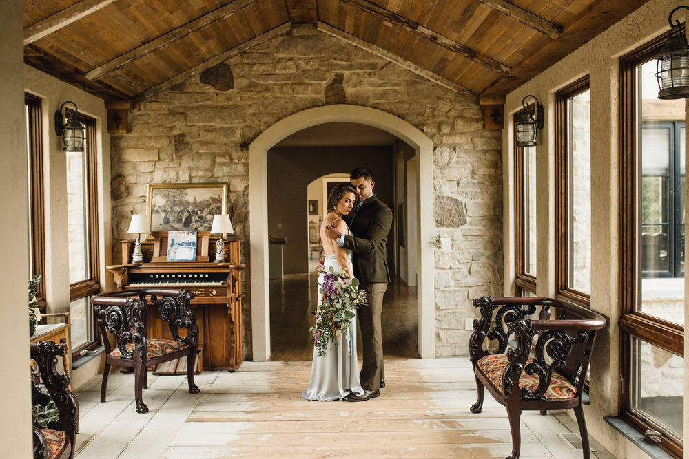 Inside the beautiful home of Mariann and Jim at Givens Farm. Florals - Jennifer Joyce & Gown - Vene AI