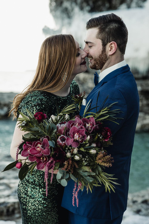 Cave Point elopement - Sturgeon Bay Elopement - International-Photographer-Adventure-Winter-Green Sequin Dress