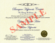 Master Hypnotist Certificate, Included