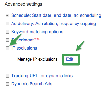 Select IP Exclusions and Edit