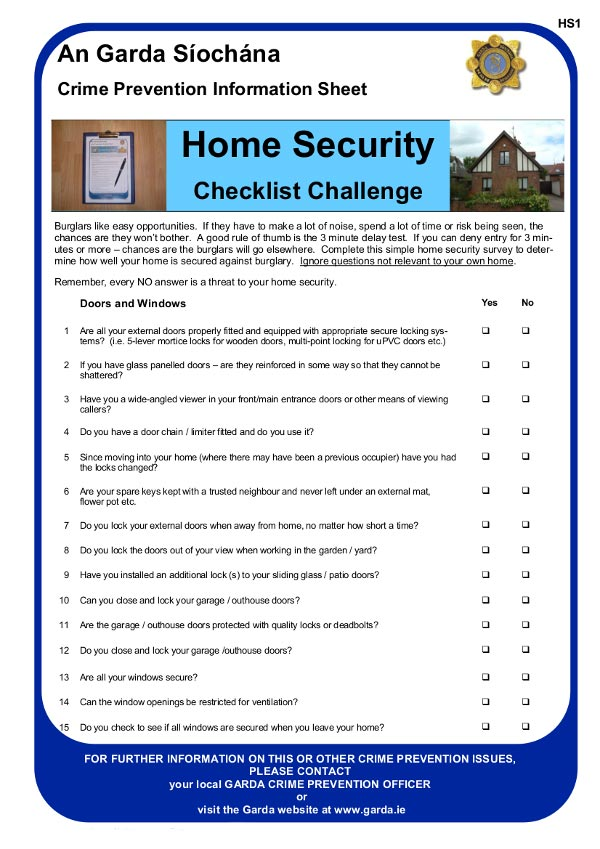 Garda home security checklist