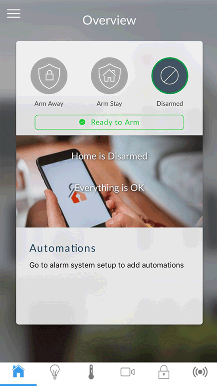 homesecure alarm app menu disarmed