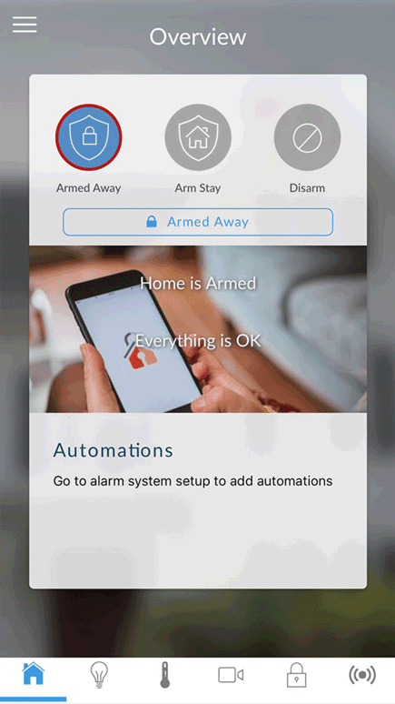 homesecure house alarm app menu armed