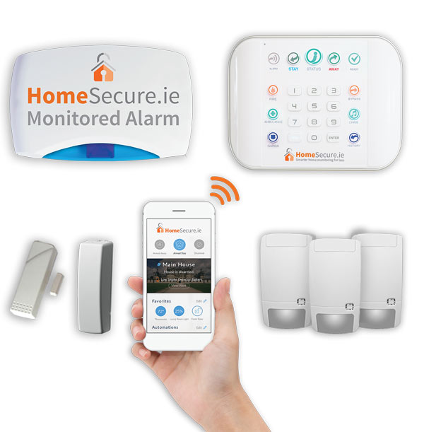 home alarm pack, sensors, mobile phone, alarm panel