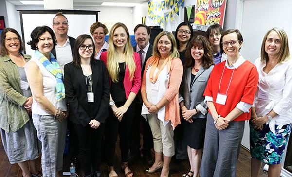 (L to R) Back row: David O'Brien (EMYS), Joanna Henderson (CAMH), Peter Szatmari (CAMH), Amy Cheung (Sunnybrook), Lisa Hawke (CAMH).  Front row: Susan Dickens (CAMH), Filomena D'Andrea (Skylark), Jackie Relihan (CAMH), Emma McCann (CAMH), Lynn Courey (Sashbear), Gloria Chaim (CAMH), Heather McDonald (LOFT), Kristin Cleverley (CAMH).