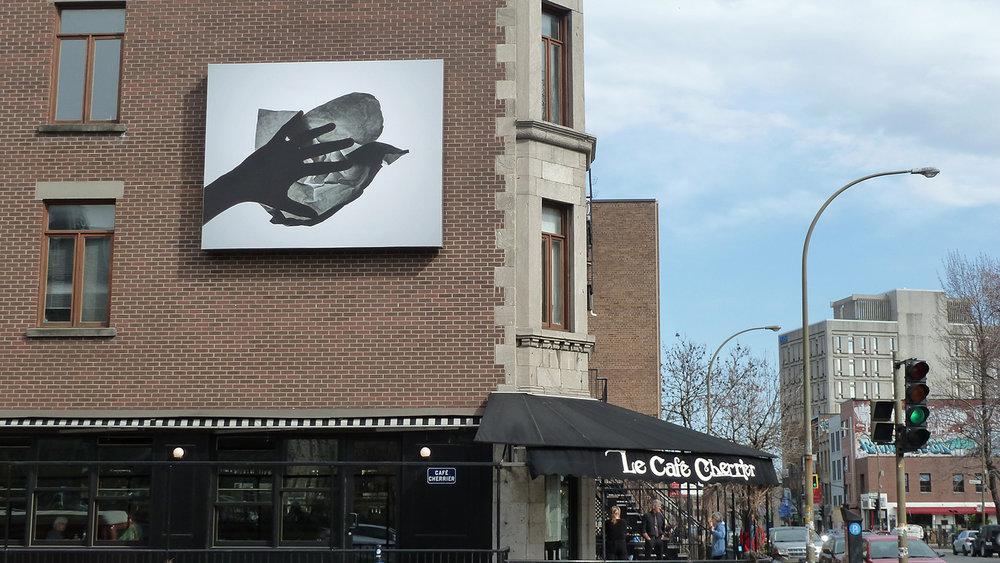 © Manon De Pauw, L'apprentie # 6 (2013). Café Cherrier's façade. Photo: Dazibao.