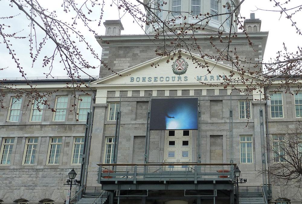 © Manon De Pauw,  Corps spectral # 1  (2013). Bonsecours Market's façade. Photo: Dazibao.