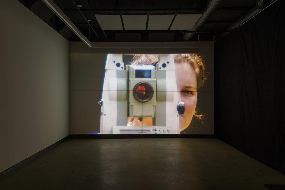© David K. Ross,Théodolitique(2015). Exhibition view. Photo: Guy L'Heureux.