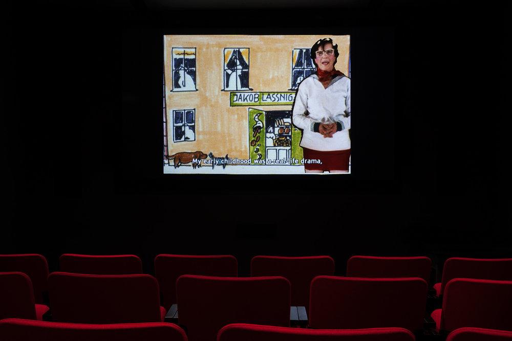 ©Maria Lassnig, Maria Lassnig Kantate (1992). Exhibition view. Photo: Marilou Crispin.
