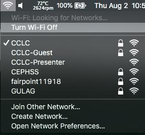 The Wi-Fi menu