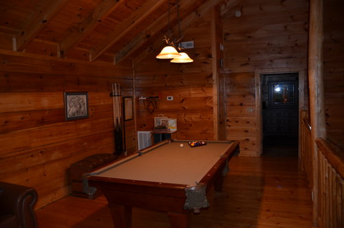 About serenity cabins in the smoky mountains game room fun championship pool table greets you when you first enter the loft area m4hsunfo