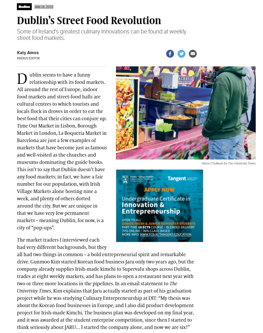 University Times (2019)   link:  http://www.universitytimes.ie/2019/01/dublins-street-food-revolution/?fbclid=IwAR3KoQiVjXETxINU2h7sD1KRjqMRsCA4BRHfnG5mhI_Noih5vuKtzenpG1I
