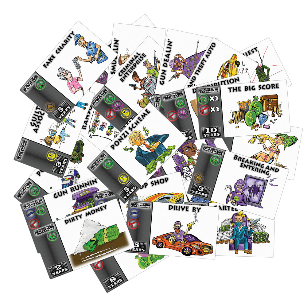 Here are all the crime cards, win the years by commiting the crime, match up the required contraband cards form your stash and take that crime!