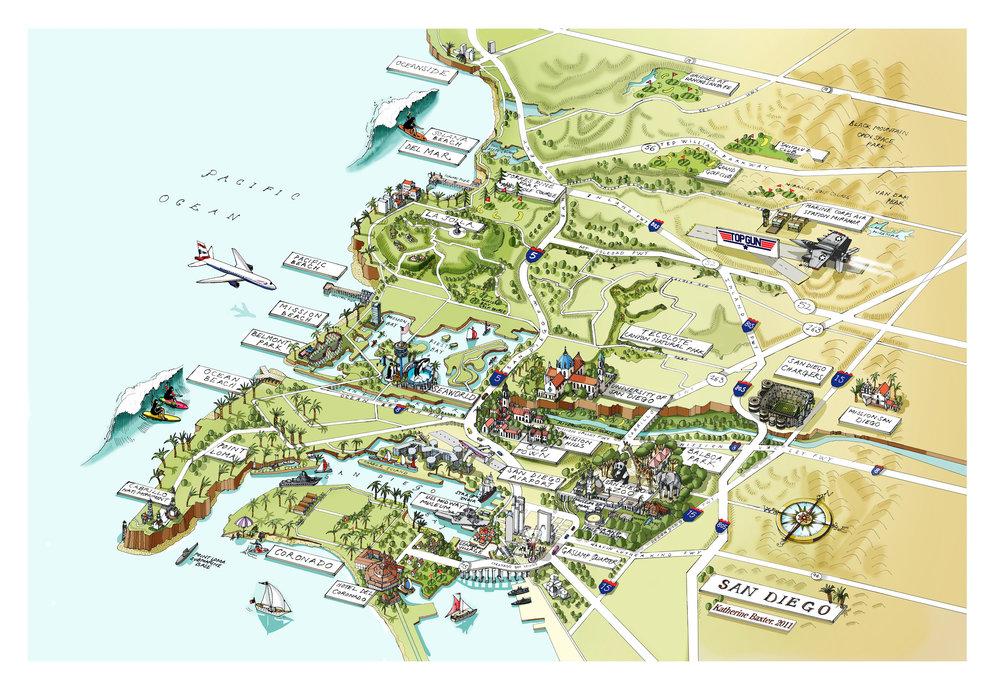 Katherine Baxter Illustrated MapsSan Diego