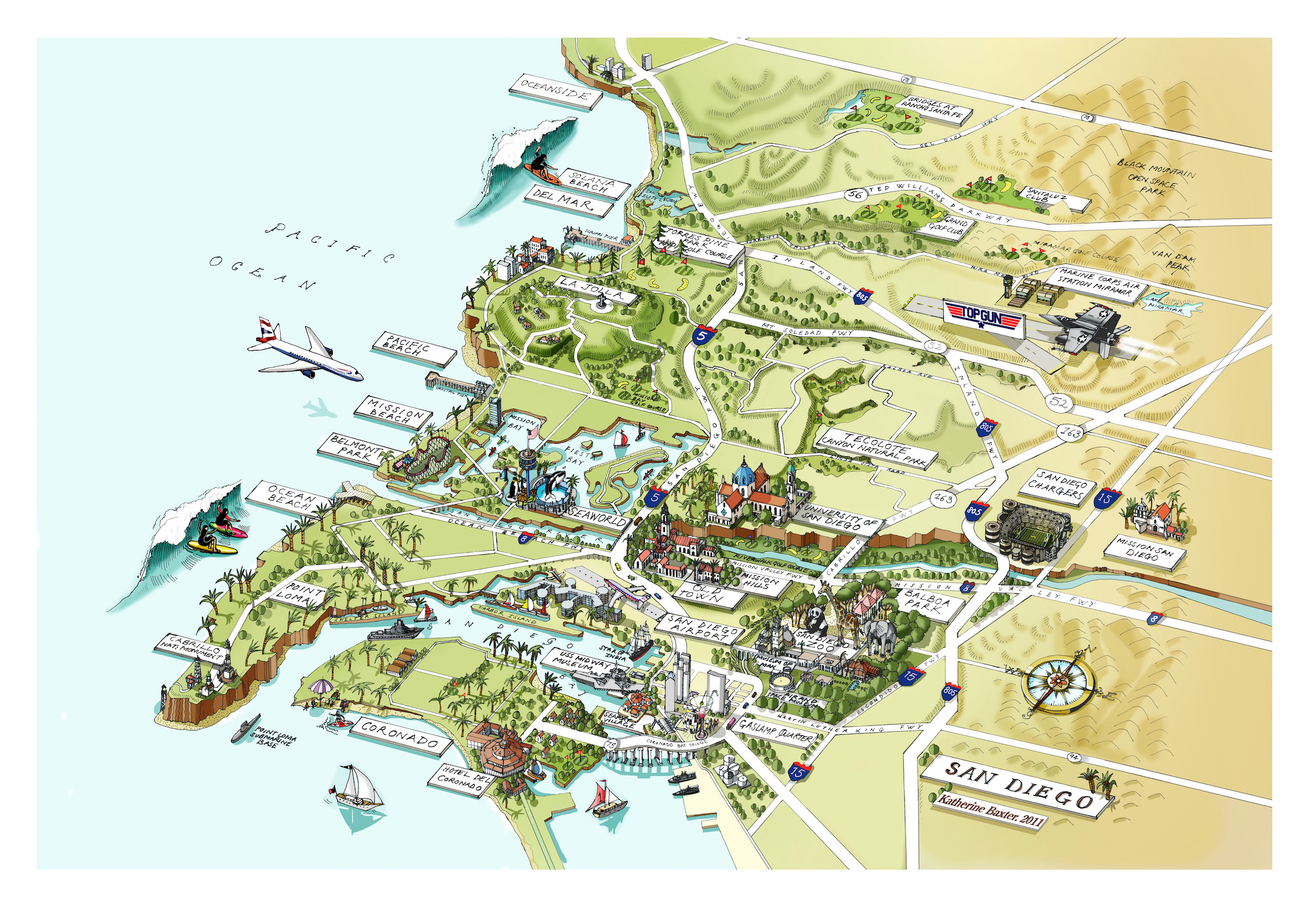 Katherine Baxter | Illustrated Maps-San Diego