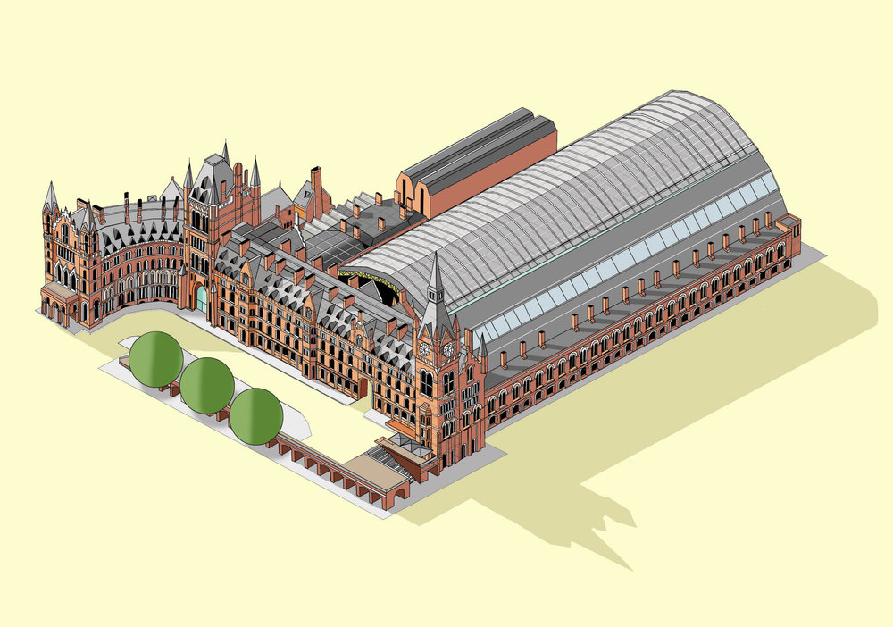 St Pancras International Station Illustration by Katherine Baxter
