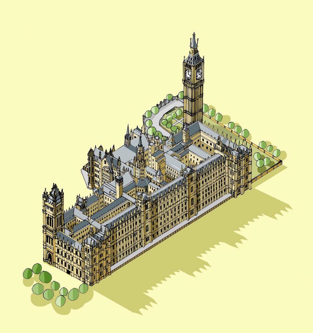 The Houses of Parliament Illustration by Katherine Baxter