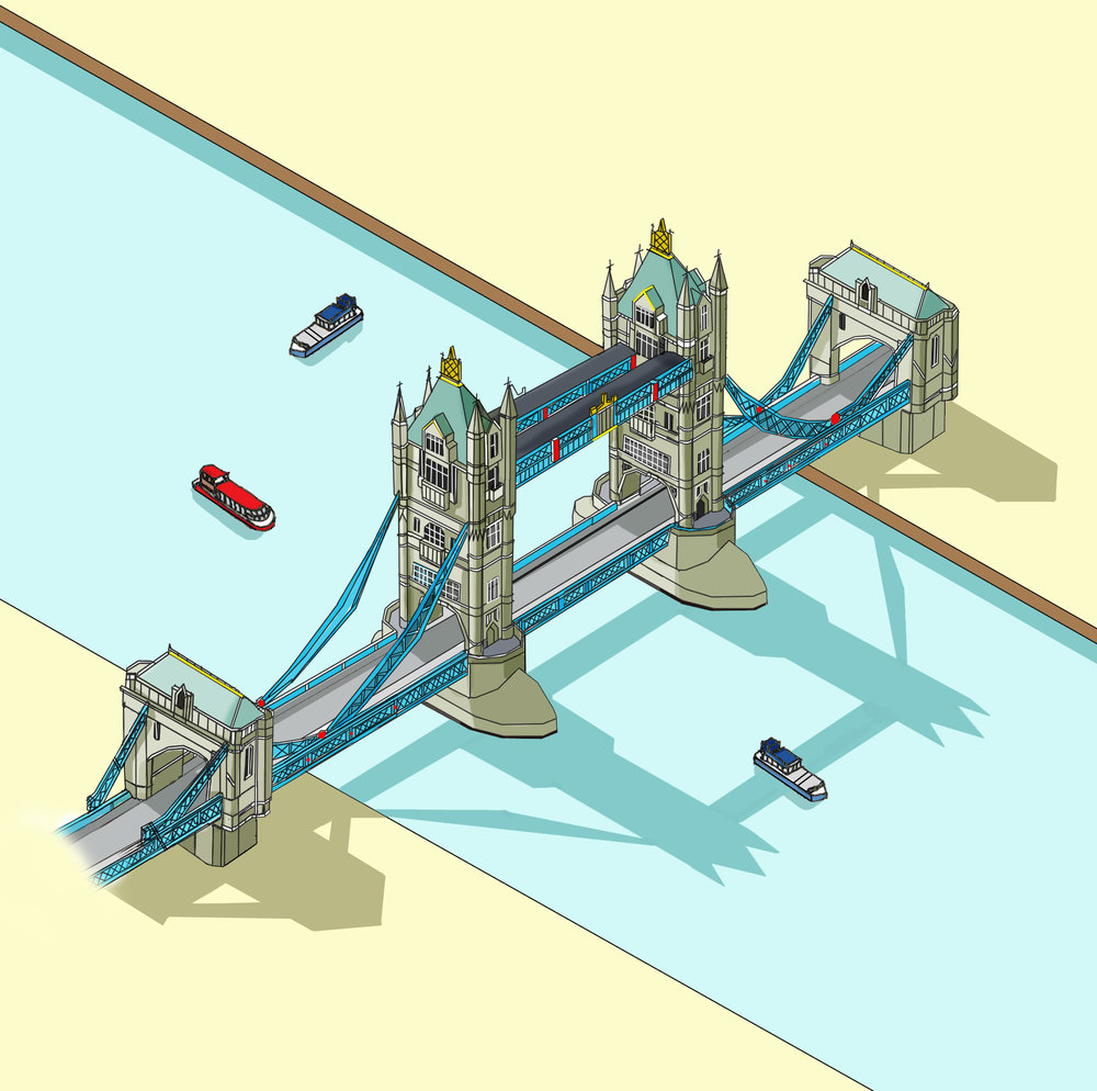 Tower Bridge Illustration by Katherine Baxter