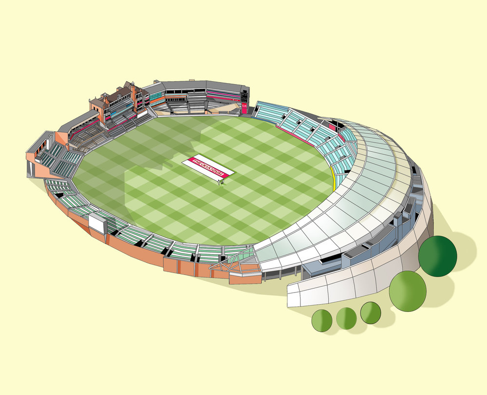 Oval Cricket Ground Illustration by Katherine Baxter