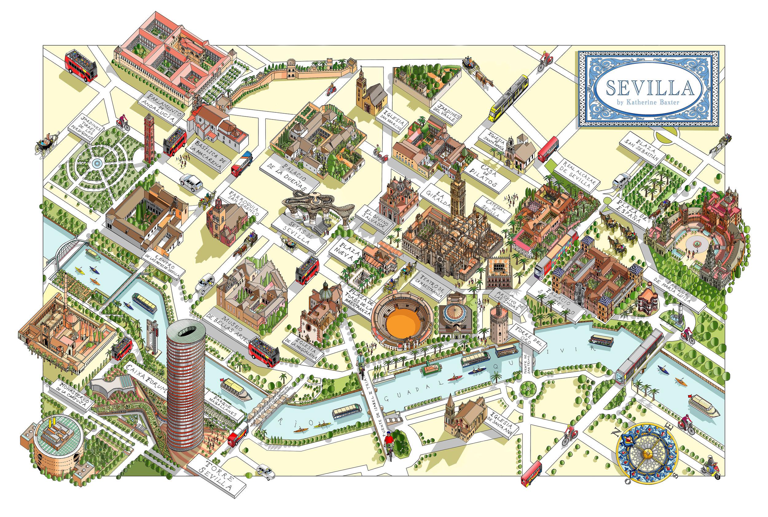 Katherine Baxter | Illustrated Maps-Map of Seville