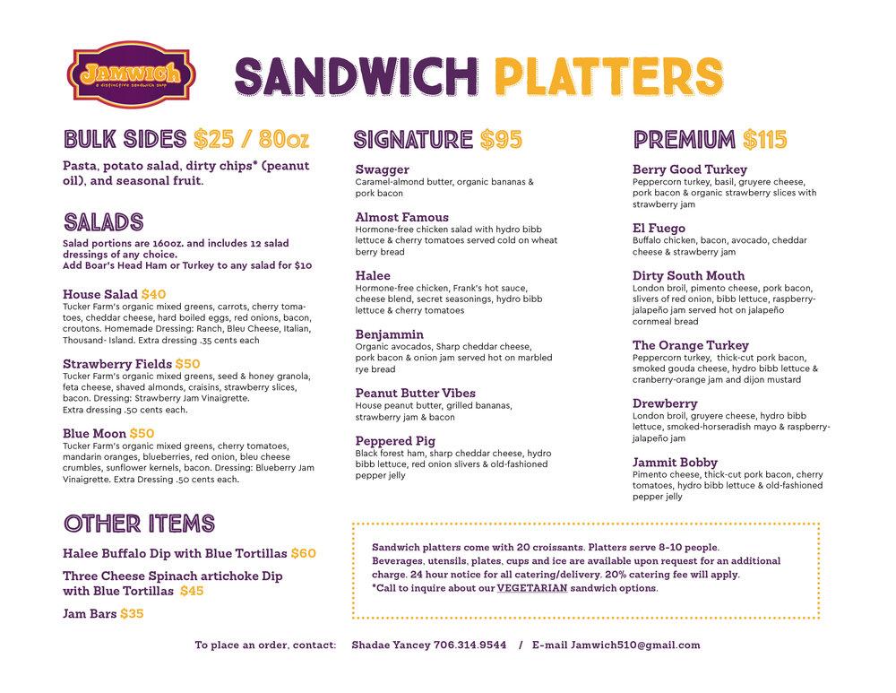 sandwich platters catering menu