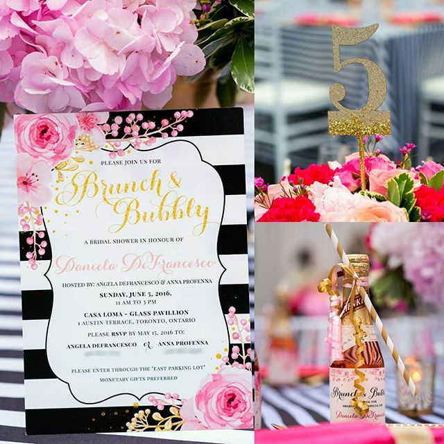Still loving all the pretty pieces we created for @dee.pro gorgeous #bridalshower at @casalomatoronto this summer. How can you go wrong with brunch, bubbly and lots of glitter!